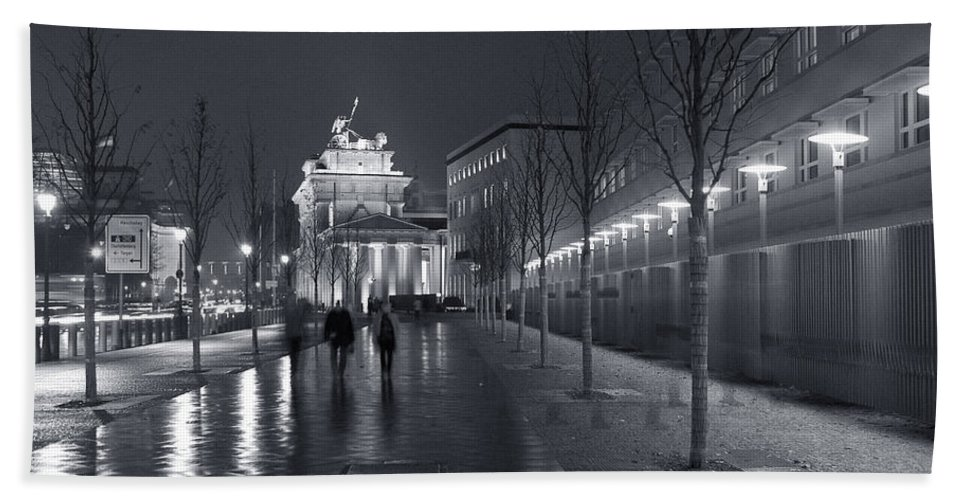 Brandenburg Gate Tor Symbol Landmark Building Architecture Sidewalk Lights Street Old City Germany Mitte Berlin Ebertstrasse Famous Old Bath Sheet featuring the photograph Ebertstrasse And The Brandenburg Gate by Pierre Logwin