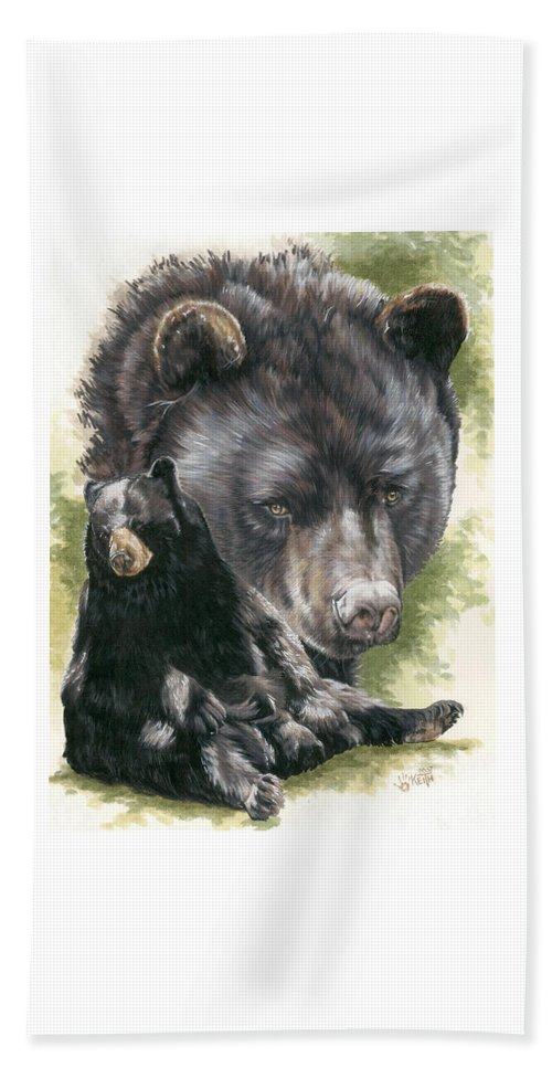 Black Bear Hand Towel featuring the mixed media Ebony by Barbara Keith