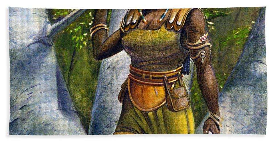 Elf Bath Sheet featuring the painting Ebony Elf by Melissa A Benson