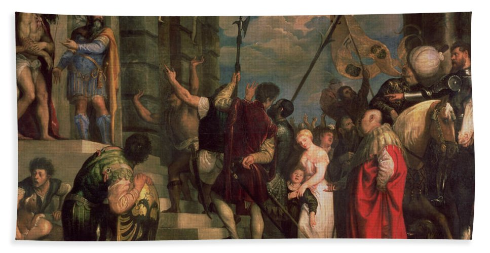 Titian Hand Towel featuring the painting Ecce Homo, 1543 by Titian
