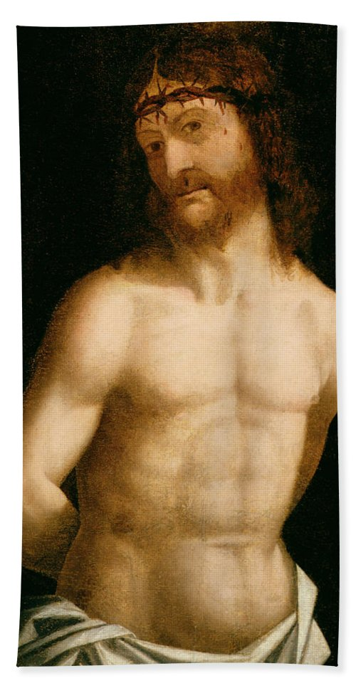 Christ Hand Towel featuring the painting Ecce Homo by Andrea Mantegna