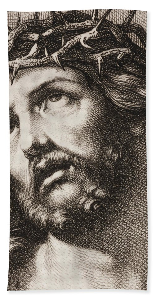 Crown Of Thorns Hand Towel featuring the drawing Ecce Homo by Hugo Burkner