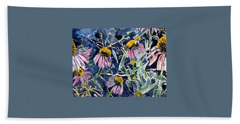 Echinacea Bath Sheet featuring the painting Echinacea Cone Flower Art by Derek Mccrea