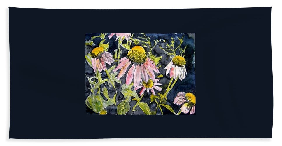 Echinacea Bath Sheet featuring the painting Echinacea Coneflower 2 by Derek Mccrea