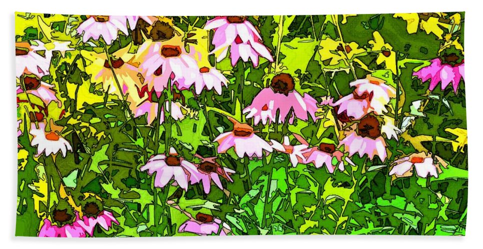 Contemporary Hand Towel featuring the digital art Echinacea Imagined by Linda Mears