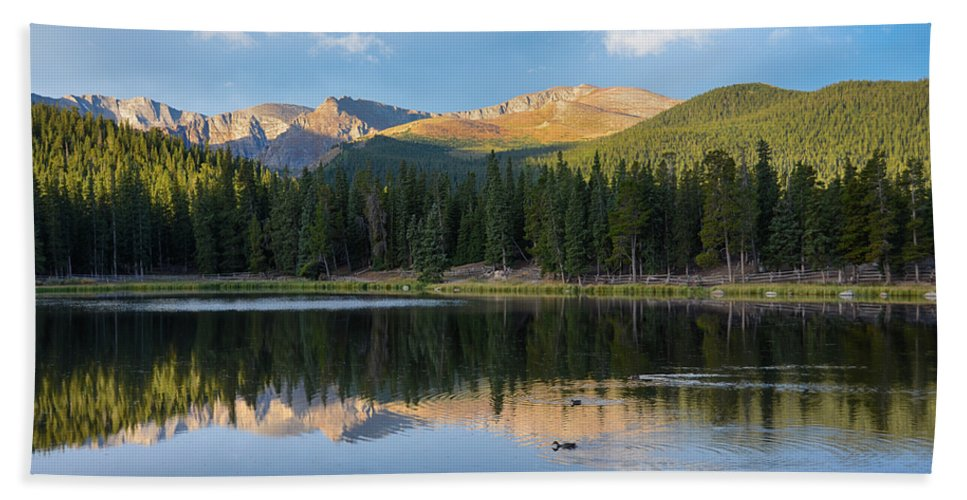Mount Evans Hand Towel featuring the mixed media Echo Lake 6 by Angelina Vick