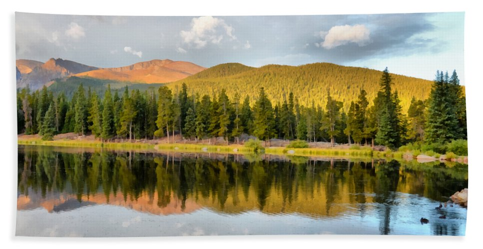 Echo Lake Hand Towel featuring the photograph Echo Lake Painterly 1 by Angelina Vick