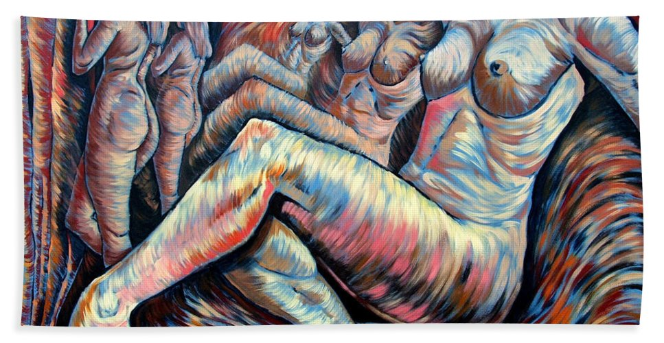 Surrealism Hand Towel featuring the painting Echo Of A Nude Gesture II by Darwin Leon