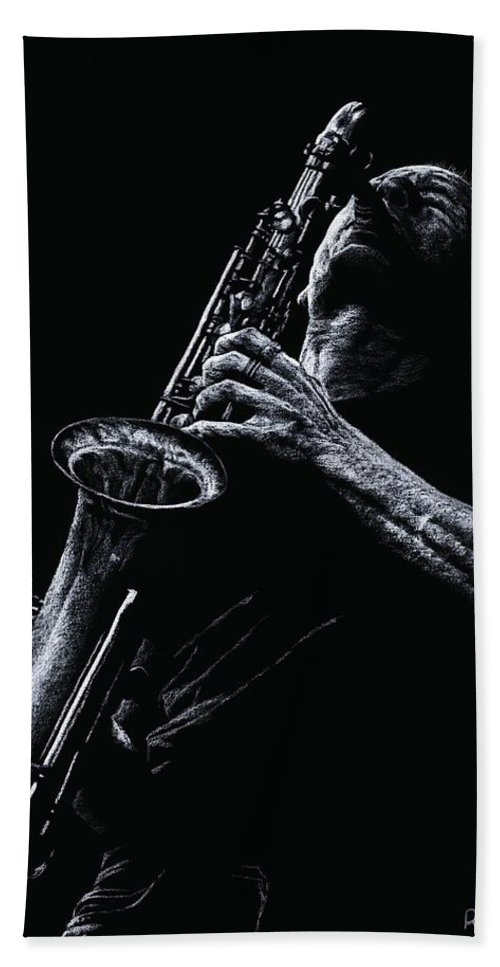 Musician Hand Towel featuring the pastel Eclectic Sax by Richard Young