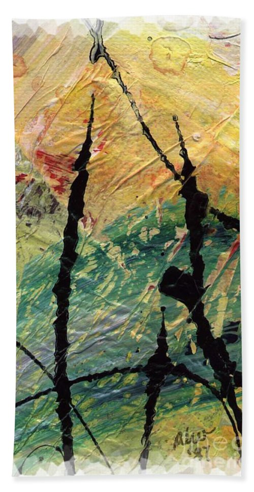 Abstract Hand Towel featuring the painting Ecstasy II by Angela L Walker