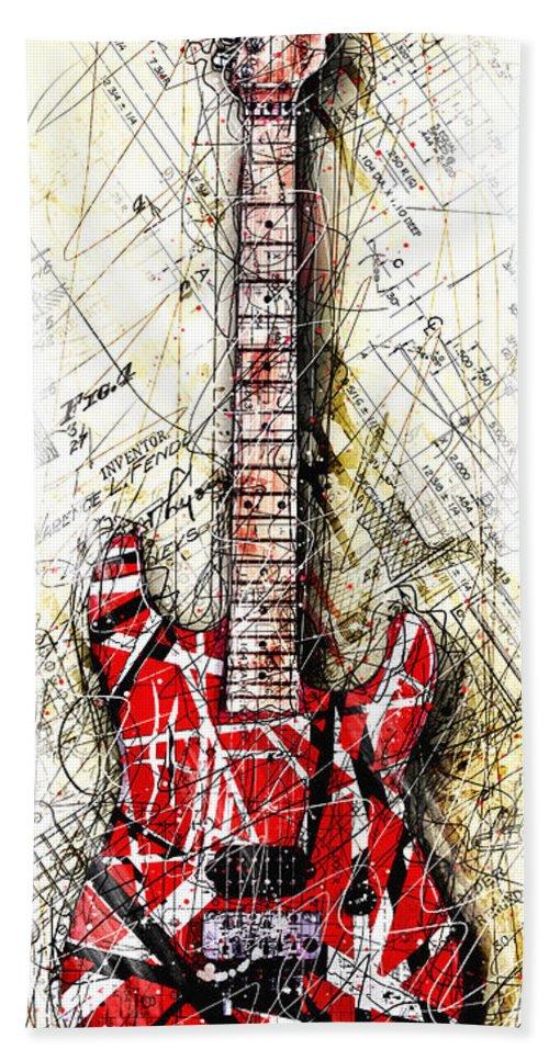 Guitar Hand Towel featuring the digital art Eddie's Guitar Vert 1a by Gary Bodnar