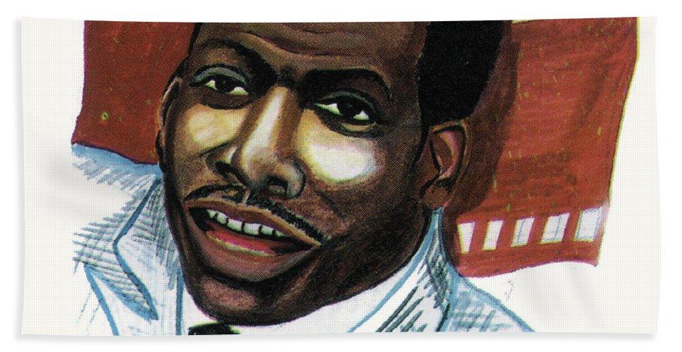 Portraits Bath Sheet featuring the painting Eddy Murphy by Emmanuel Baliyanga