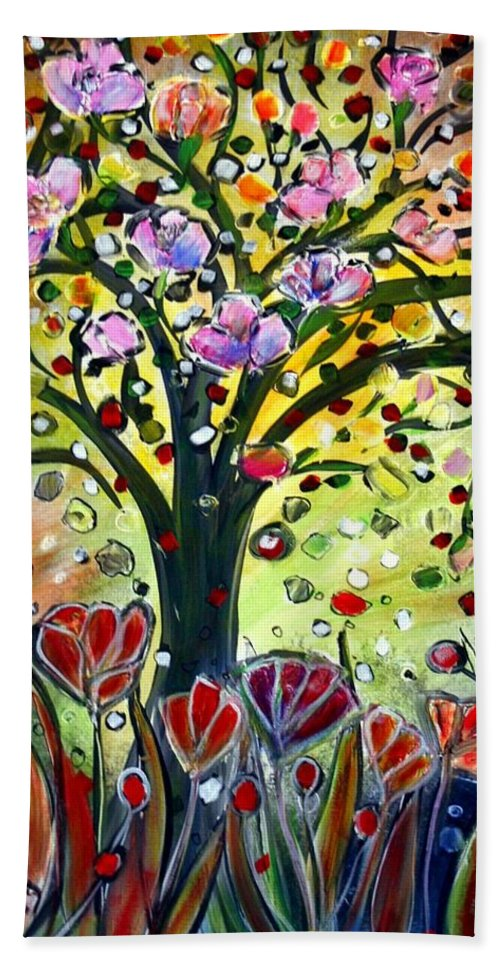 Flowers Bath Towel featuring the painting Eden Garden by Luiza Vizoli