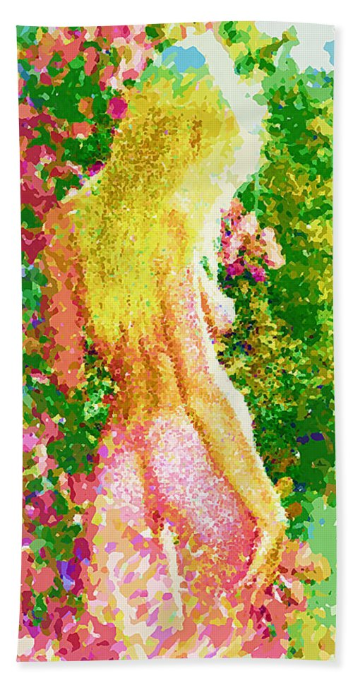 Nude Artistry Hand Towel featuring the painting Eden Revealed by Mario Carini