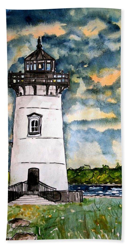Lighthouse Hand Towel featuring the painting Edgartown Lighthouse Martha's Vineyard Mass by Derek Mccrea