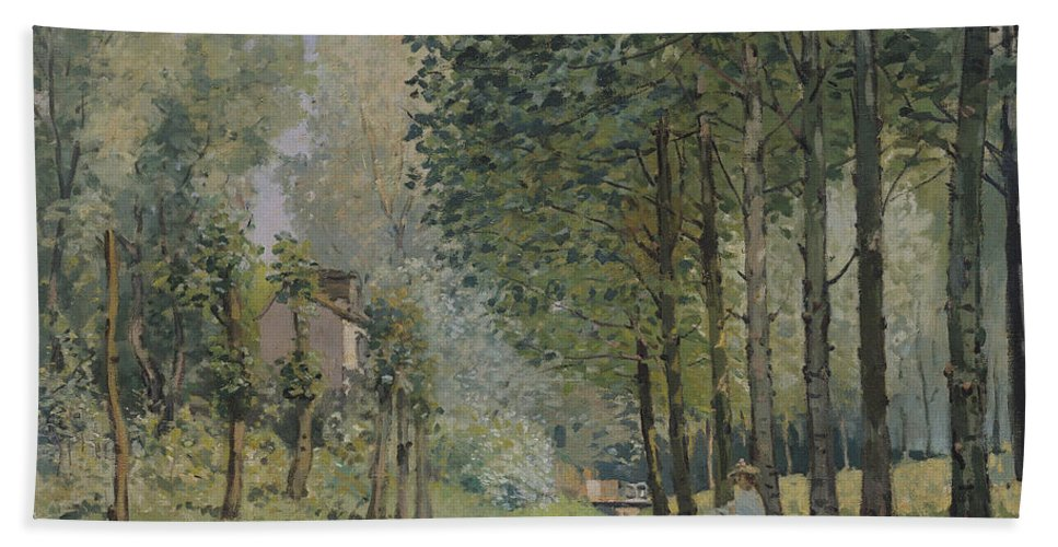 The Rest By The Stream. Edge Of The Wood Bath Sheet featuring the painting Edge Of The Wood by Alfred Sisley