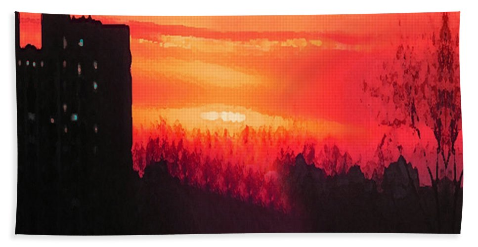 Sunset Bath Sheet featuring the mixed media Edge Of Town by Michael A Klein