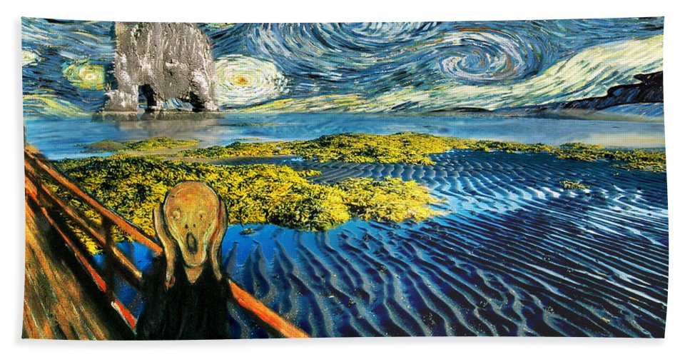 Van Gogh Hand Towel featuring the painting Edvard Meets Vincent Posters by Gravityx9 Designs
