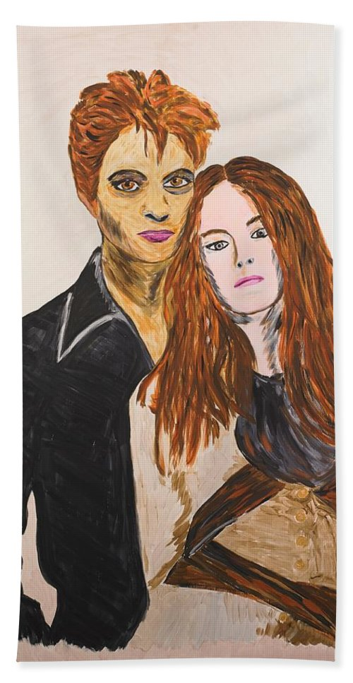 Edward Hand Towel featuring the painting Edward And Bella by Valerie Ornstein