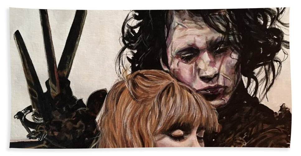 Portrait Bath Towel featuring the painting Edward And Kim by Joel Tesch