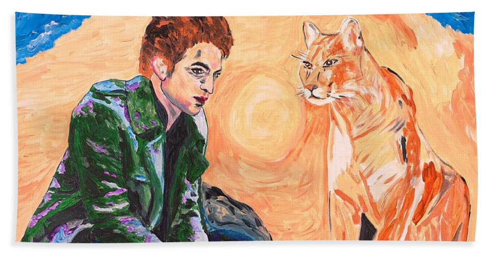 Edward Bath Towel featuring the painting Edward Cullen And His Diet by Valerie Ornstein