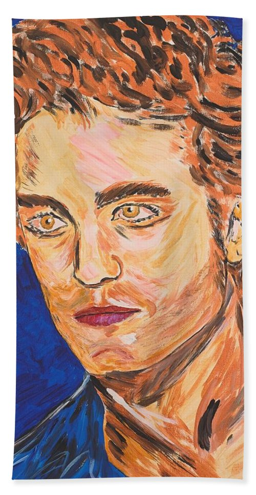 Edward Bath Towel featuring the painting Edward Cullen by Valerie Ornstein