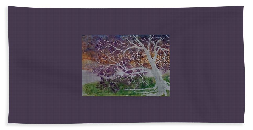 Watercolor Hand Towel featuring the painting Eerie Gothic Landscape Fine Art Surreal Print by Derek Mccrea