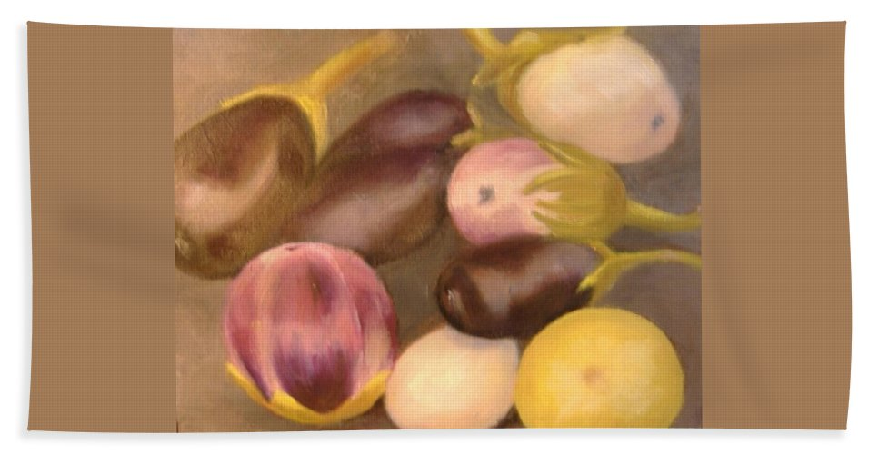 Vegestables Hand Towel featuring the painting Eggplant by Pat Snook