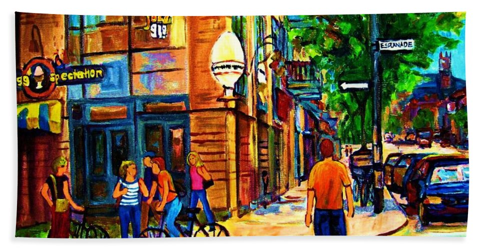 Eggspectation Cafe On Esplanade Bath Towel featuring the painting Eggspectation Cafe On Esplanade by Carole Spandau