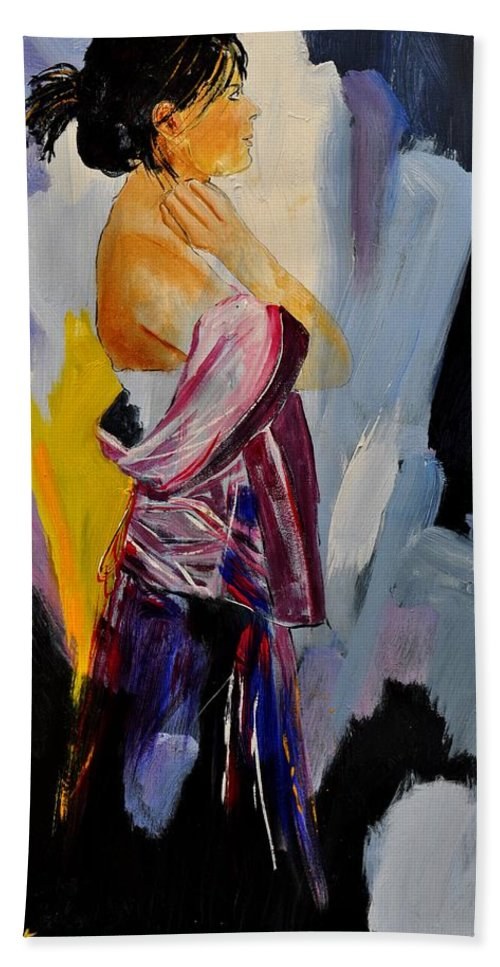Girl Bath Sheet featuring the painting Eglantine 570150 by Pol Ledent