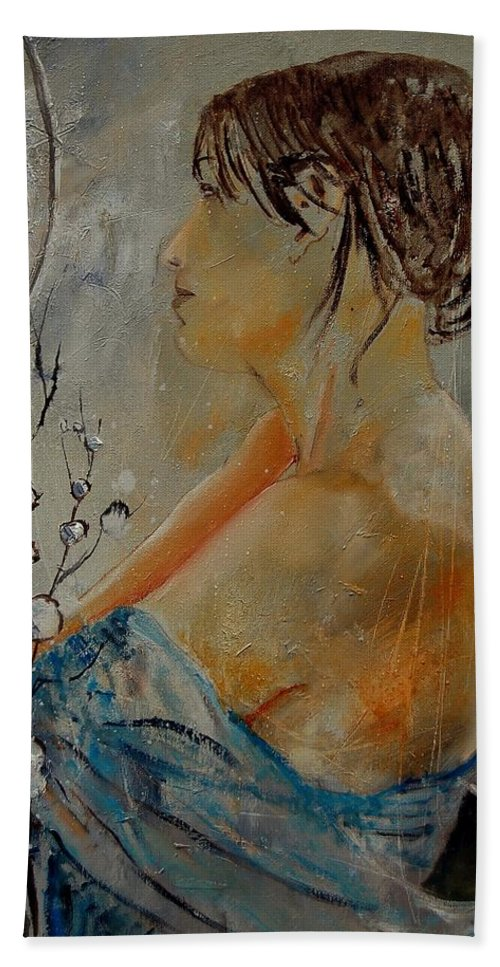 Girl Bath Towel featuring the painting Eglantine Before The Mirror by Pol Ledent