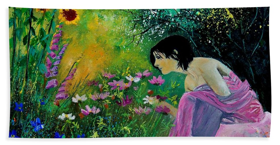 Flowers Bath Sheet featuring the painting Eglantine With Flowers by Pol Ledent