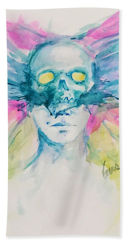 Skull Hand Towel featuring the painting Ego Death - Transformation Butterfly Skull by Gus Quintana