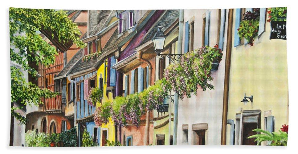 Eguisheim Hand Towel featuring the painting Eguisheim In Bloom by Charlotte Blanchard