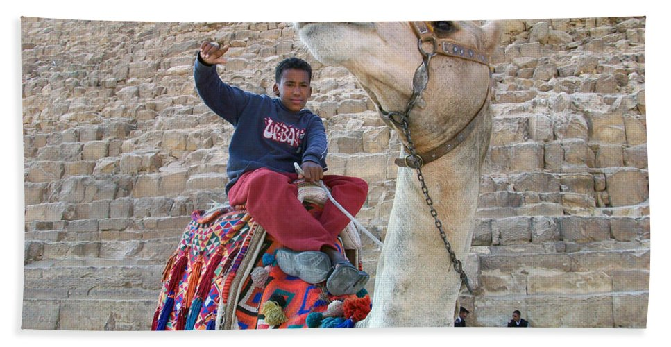 Egypt Hand Towel featuring the photograph Egypt - Boy With A Camel by Munir Alawi