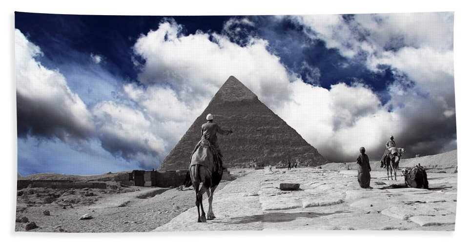Egypt Hand Towel featuring the photograph Egypt - Clouds Over Pyramid by Munir Alawi