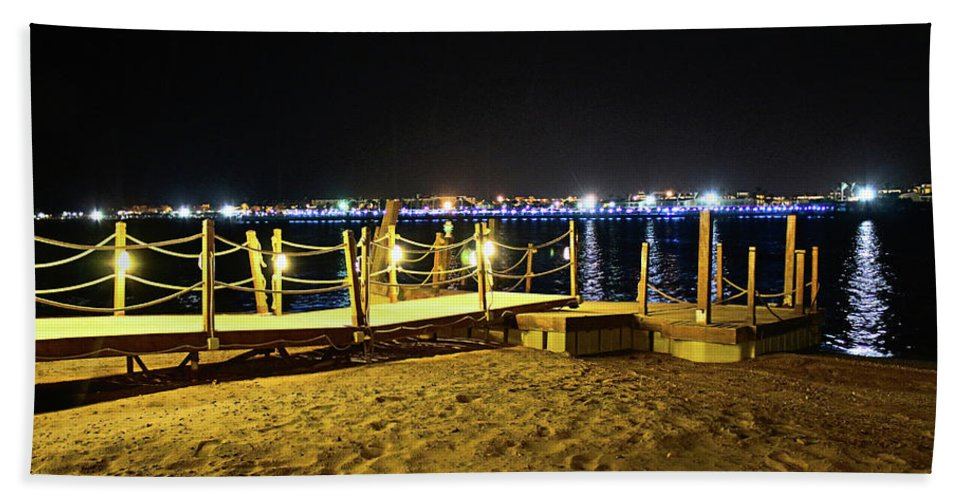 Beach Hand Towel featuring the photograph Egypt At Night by Dave Lees