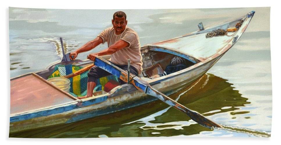 Fisherman Bath Sheet featuring the painting Egyptian Fisherman by Ahmed Bayomi