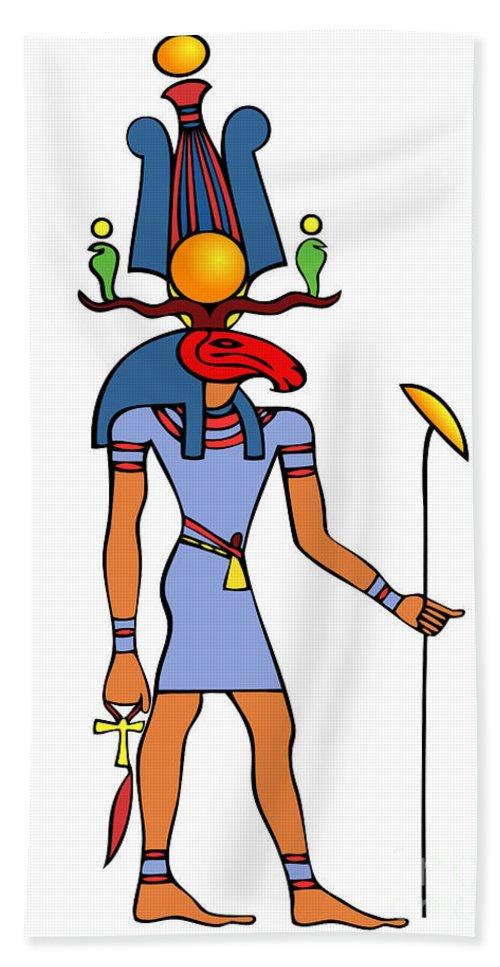 Khensu Hand Towel featuring the drawing Egyptian God - Khensu by Michal Boubin