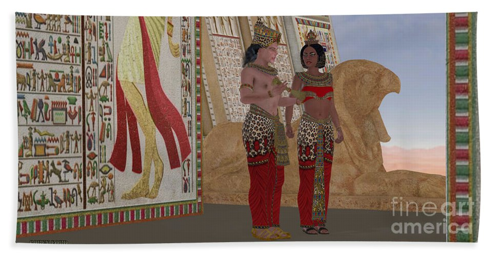 Old Kingdom Hand Towel featuring the painting Egyptian King And Queen by Corey Ford
