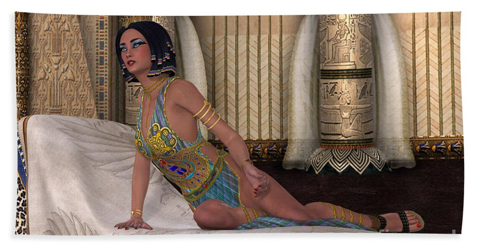 Old Kingdom Hand Towel featuring the painting Egyptian Lady by Corey Ford