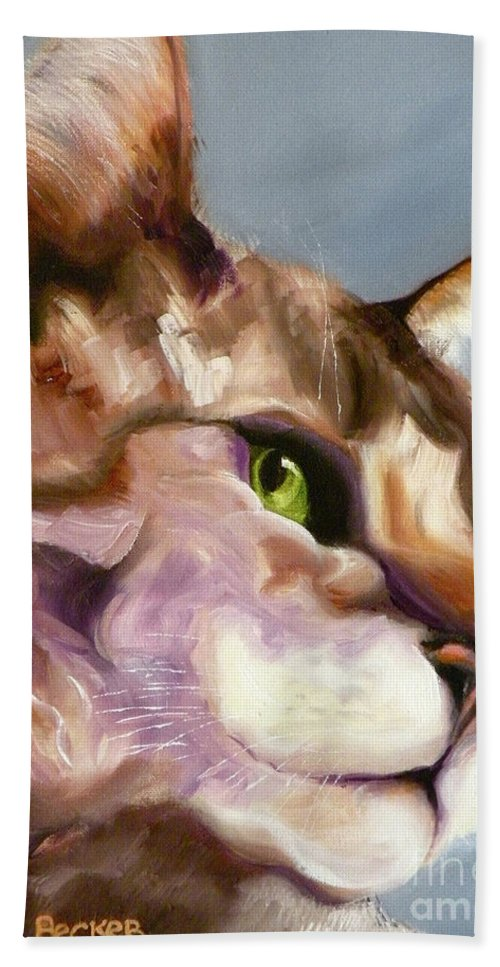 Cat Bath Sheet featuring the painting Egyptian Mau Princess by Susan A Becker