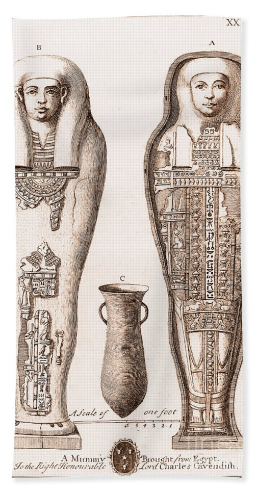Historic Bath Sheet featuring the photograph Egyptian Mummy, Illustration by Wellcome Images