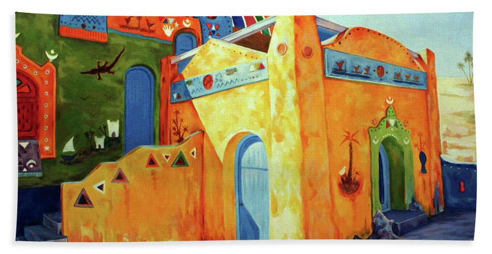 Egyptian Bath Sheet featuring the painting Egyptian Nubian House by Ahmed Bayomi