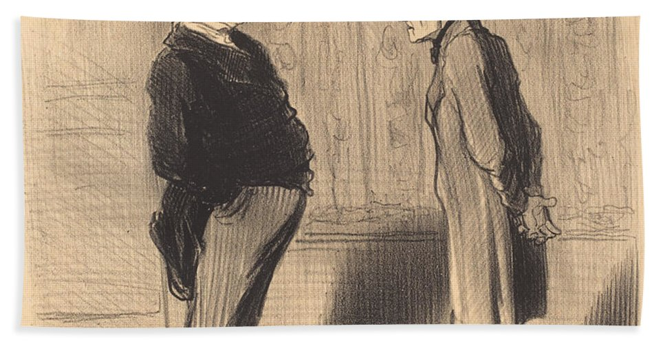 Hand Towel featuring the drawing Eh! Bien Monsieur Et Mes Trois Termes... by Honor? Daumier