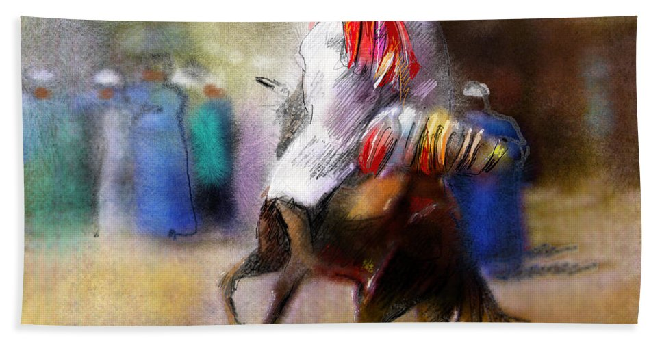 Eid Ul Adha Sheep Painting Festival Of Sacrifice Horses Knight Hand Towel featuring the painting Eid Ul Adha Festivities by Miki De Goodaboom