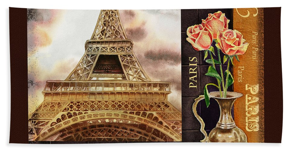 Eiffel Bath Sheet featuring the painting Eiffel Tower And Roses by Irina Sztukowski