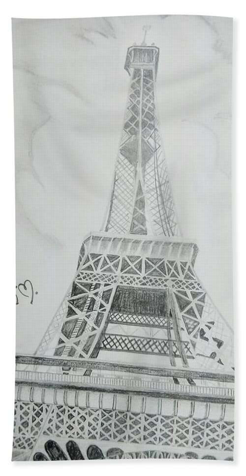 Hand Towel featuring the drawing Eiffel Tower by Anirudh Maheshwari