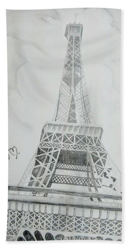 Bath Sheet featuring the drawing Eiffel Tower by Anirudh Maheshwari