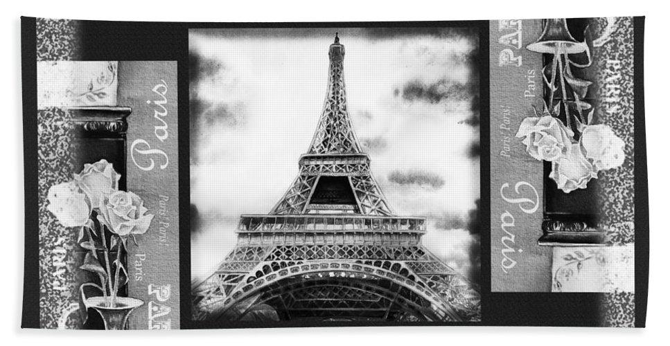 Eiffel Tower Bath Sheet featuring the painting Eiffel Tower In Black And White Design I by Irina Sztukowski